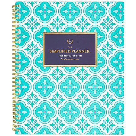 """AT-A-GLANCE® Emily Ley Simplified Academic Weekly/Monthly Planner, 8-1/2"""" x 11"""", Colorful Quatrefoil, July 2020 to June 2021, EL400-905A"""