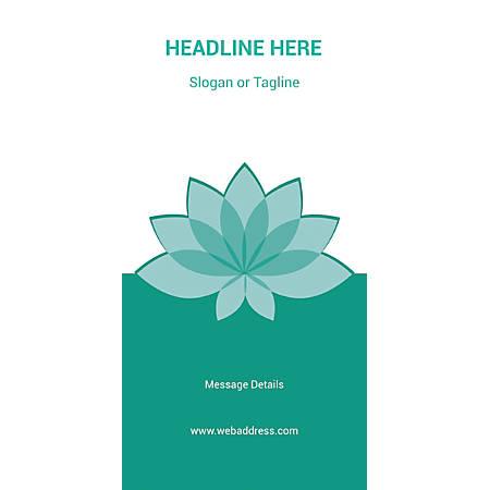 Custom Vertical Display Banner, Teal Spa Flower