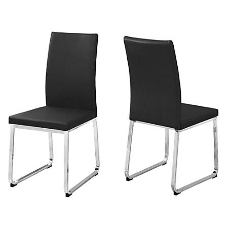 Monarch Specialties Shasha Dining Chairs, Black/Chrome, Set Of 2 Chairs