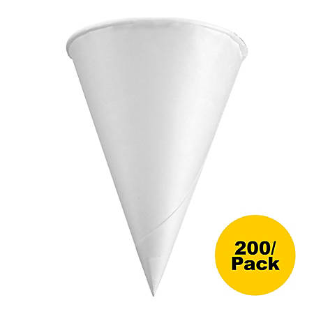 Konie Rolled Rim Paper Cone Cups - 4 fl oz - Cone - 200 / Pack - White - Wax Paper - Cold Drink, Beverage