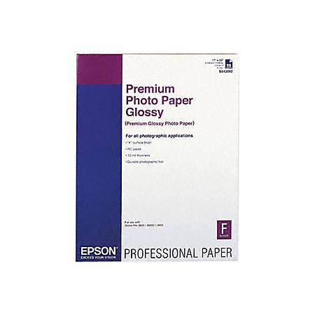 """Epson Premium Photo Paper - C - 17"""" x 22"""" - Glossy - 25 Sheet"""