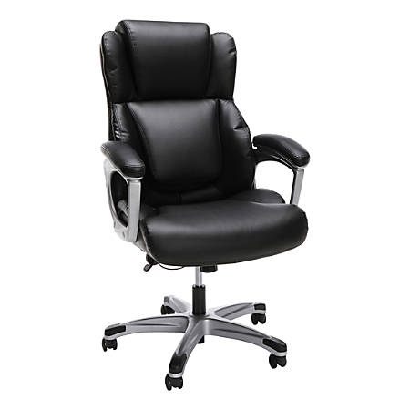 """OFM Essentials Collection Ergonomic Bonded Leather Mid-Back Chair, 50""""H, Black"""