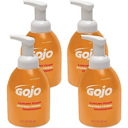 Gojo Luxury Foam Antibacterial Handwash - Orange Blossom Scent - 18.1 fl oz (535 mL) - Pump Bottle Dispenser - Kill Germs - Hand - Amber - Anti-bacterial, Triclosan-free - 4 / Carton