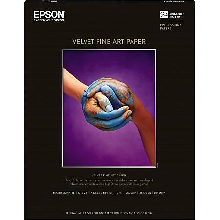 """Epson 17"""" x 22"""" Velvet Fine Art Paper For Inkjet Printers, 25 Sheets"""