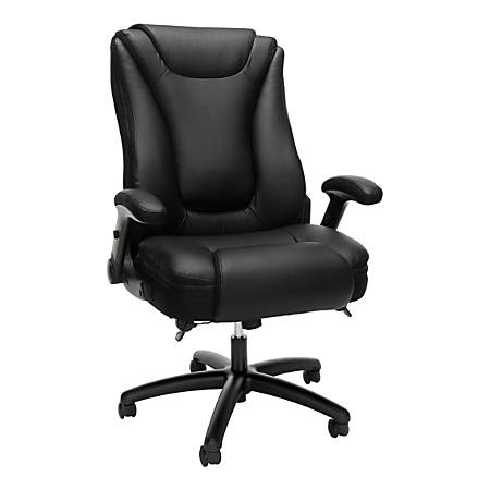 """OFM Essentials Collection Ergonomic Bonded Leather Mid-Back Chair, 46-5/8""""H, Black"""