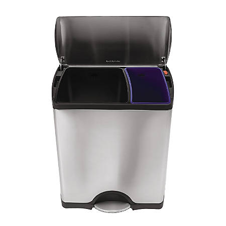 simplehuman® Rectangular Dual-Compartment Step Recycler Trash Can, 12.15 Gallons, Brushed Stainless Steel
