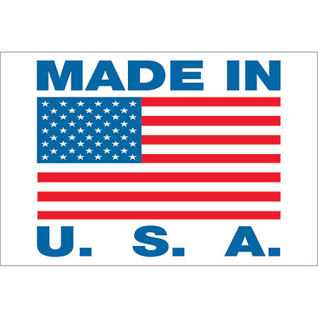 """Tape Logic® Preprinted Labels, USA305, Made in U.S.A., Rectangle, 2"""" x 3"""", Red/White/Blue, Roll Of 500"""