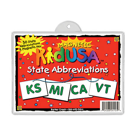 Barker Creek® Magnets, Magnetic KidUSA™, State Abbreviations Set, Grades 2+, Pack Of 51