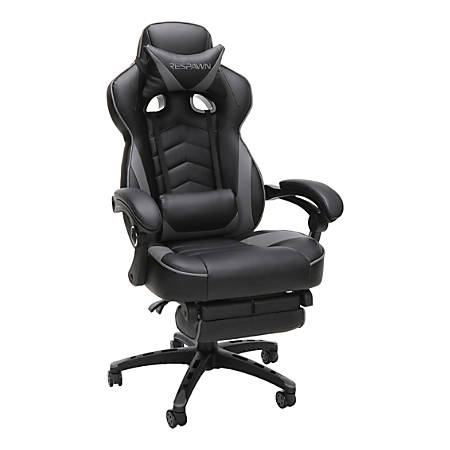 Respawn 110 Racing-Style Leather Gaming Chair, Gray/Black