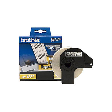"""Brother DK1221 Square Paper Labels, 2480105, 15/16"""" x 15/16"""", White, Roll Of 1,000"""