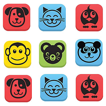"Flipside Student Animal Whiteboard Eraser Set - Whiteboard - Square - Magnetic - EVA Foam - 2"" Height x 2"" Width - 12/Set - Assorted"