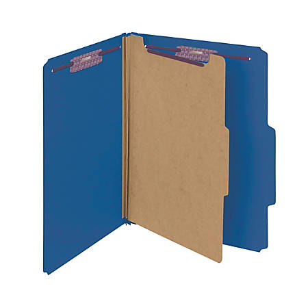Smead® Pressboard Classification Folder With SafeSHIELD Fastener, 1 Divider, Letter Size, 50% Recycled, Dark Blue