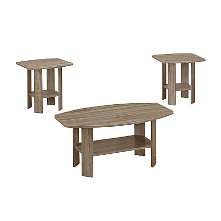 Monarch Specialties 3-Piece Table Set, Rectangle, Dark Taupe
