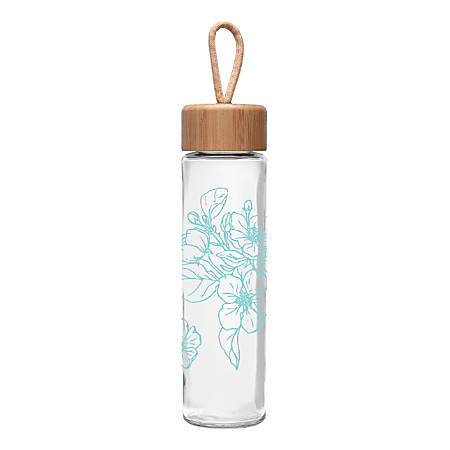 Ello Thrive Glass Water Bottle, 20 Oz, Teal Floral