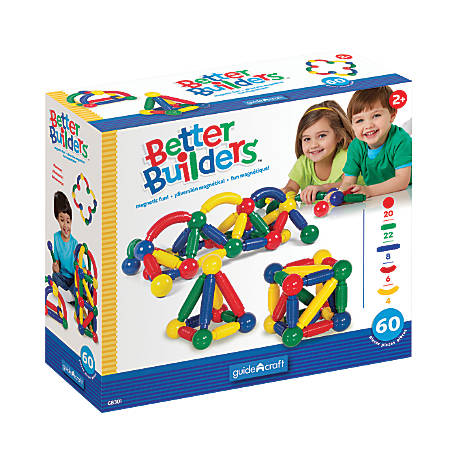 Guidecraft USA Magneatos Better Builders 60-Piece Set, Grades Pre-K - 8