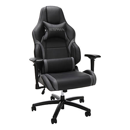 Respawn 400 Racing-Style Big And Tall Leather Gaming Chair, Gray/Black