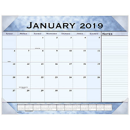 """AT-A-GLANCE® Slate Blue Monthly Desk Pad, 21 3/4"""" x 17"""", January to December 2019"""