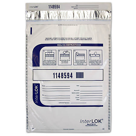"""InterLOK Tamper Evident Security Bags, 12"""" x 16"""", Clear, Pack Of 500"""