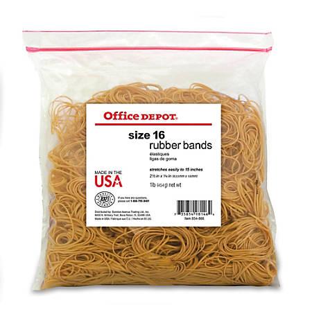 "Office Depot® Brand Rubber Bands, #16, 2 1/2"" x 1/16"", Crepe, 1-Lb Bag"