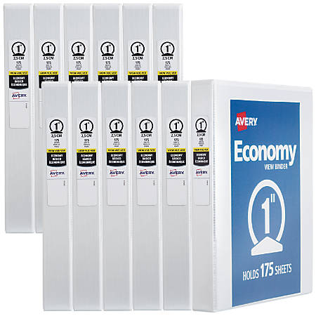 """Avery® Economy View Binders With Round Rings, 1"""" Rings, 40% Recycled, White, Case Of 12 Binders"""