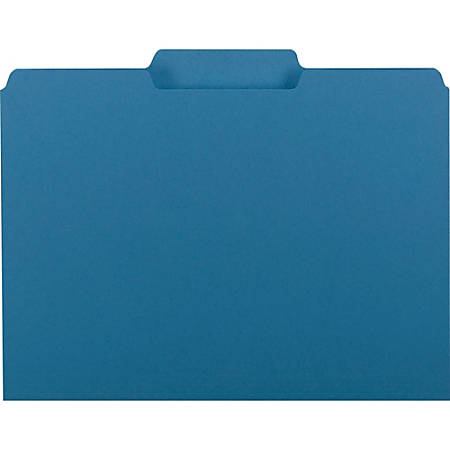 """Smead® Interior Folders, Letter Size, 3/4"""" Expansion,1/3 Tab Cut, Recycled, Sky Blue, Box Of 100"""
