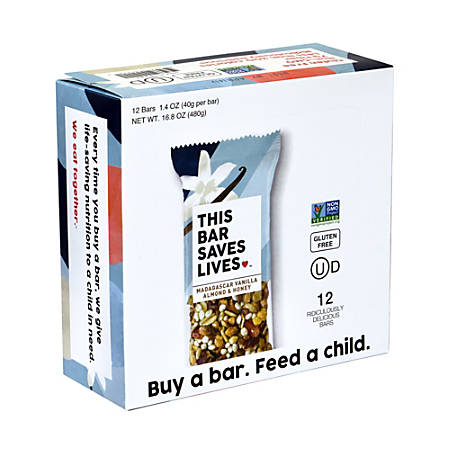 THIS BAR SAVES LIVES Madagascar Vanilla Almond & Honey Bars, 1.4 oz, 12 Count