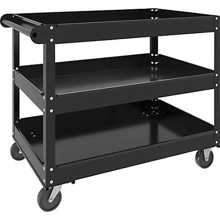 "Lorell 3-shelf Utility Cart - 3 Shelf - 400 lb Capacity - 4 Casters - Steel - 24"" Width x 30"" Depth x 32"" Height - Black"