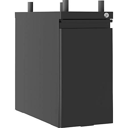 """Lorell® Slim 20""""D Vertical 1-Drawer Hanging Letter-Size Pedestal Cabinet, Metal, Black"""