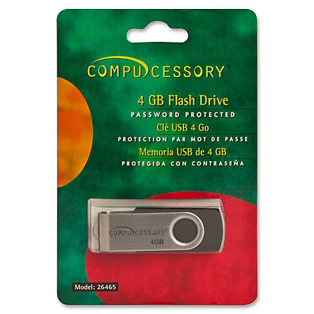 Compucessory Password Protected Flash Drive, 4GB