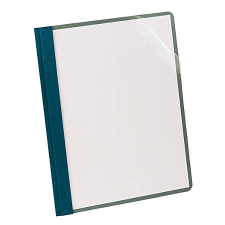 Earthwise® By Oxford™ Clear Front Report Covers With 3-Prong Fasteners, Blue, Box Of 25