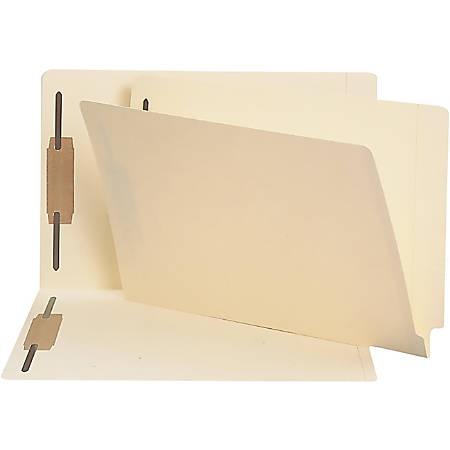 "Smead® End-Tab Fastener Folders with Shelf-Master® Reinforced Tab, 1"" Capacity, 2 Fasteners, Legal Size, Straight-Cut Tab, Manila, Box Of 50"