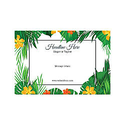 Adhesive Sign Leaves and Flowers Horizontal
