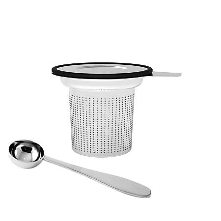 "Mind Reader ""Fuse"" Stainless-Steel Loose-Leaf Tea Infuser With Lid, Silver/Black"