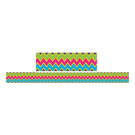 "Teacher Created Resources Double-Sided Borders, 3"" x 36"", Sassy Bubbles And Chevrons, Pack Of 12"