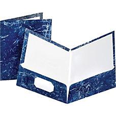 Oxford Marble Twin Pocket Portfolios Navy