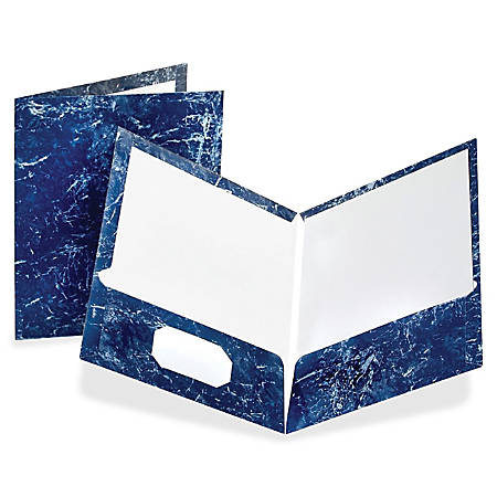 Oxford® Marble Twin-Pocket Portfolios, Navy, Box Of 25