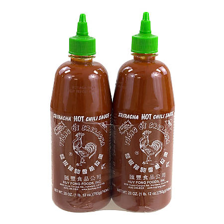 Sriracha Hot Chili Sauce, 28 Oz, Pack Of 2 Bottles