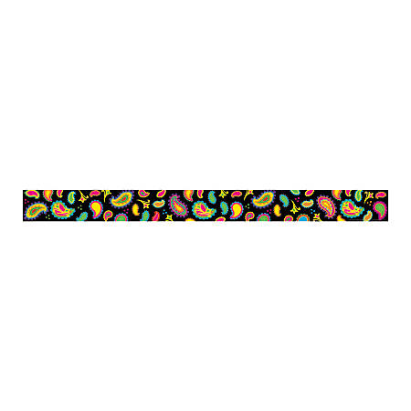 "Barker Creek Straight-Edge Borders, 3"" x 35"", Neon Paisley, Pack Of 12"