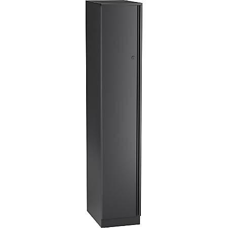 "Lorell Trace 12x18"" Single Locker - 1 Shelve(s) - Key Lock - Wall - for Shoes, Jacket - Overall Size 65.9"" x 12"" x 18"" - Black - Metal"