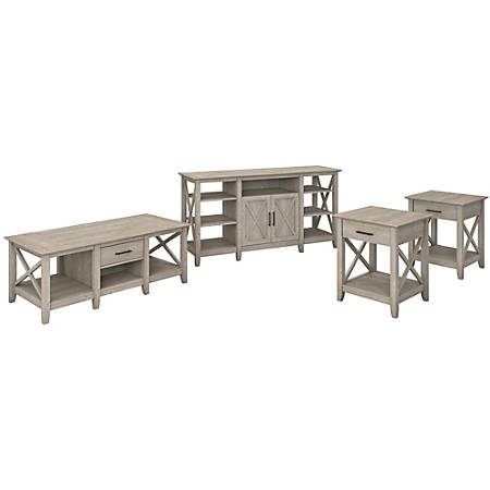 Bush Furniture Key West Tall TV Stand with Coffee Table and Set of 2 End Tables, Washed Gray, Standard Delivery