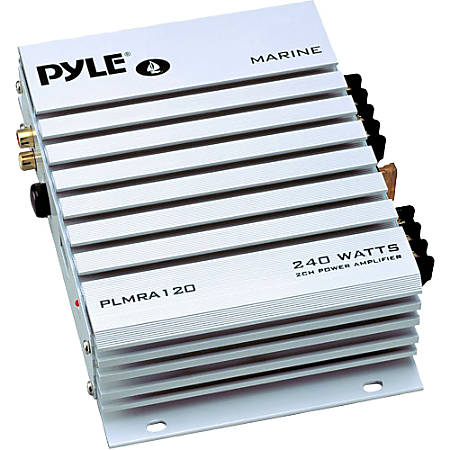 Pyle Hydra PLMRA120 Marine Amplifier - 140 W RMS - 240 W PMPO - 2 Channel - Class A - 8 Ohm - 80 dB SNR - 0.1% THD - 20 Hz to 30 kHz