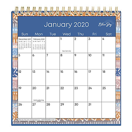 "Blue Sky™ Wirebound Desk Calendar With Stand, 6"" x 6"", Jasper, January to December 2020"