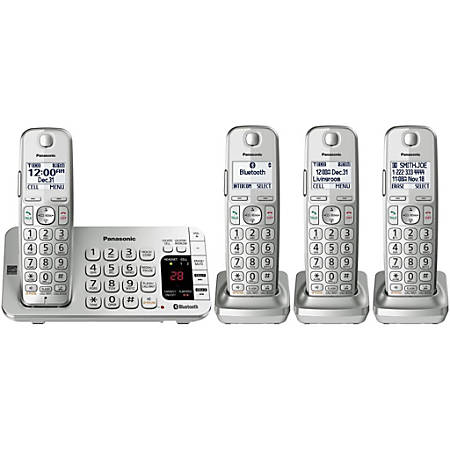 Panasonic® Link2Cell KX-TGE474S Bluetooth® Cordless Phone And 4 Handsets, Silver