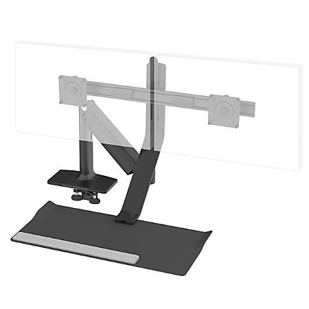 Humanscale® QuickStand Lite With Wide Crossbar Monitor Mount, Dual Screens Up To 22 Lb, Black