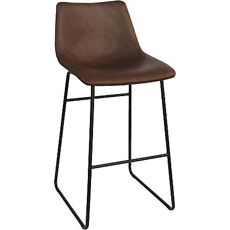 """Lorell Mid-century Modern Sled Guest Stool - Sled Base - Tan - Bonded Leather - 18.9"""" Width x 22.3"""" Depth x 39.8"""" Height"""