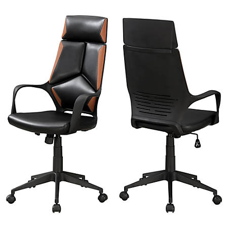 Monarch Specialties High-Back Office Chair, Brown/Black