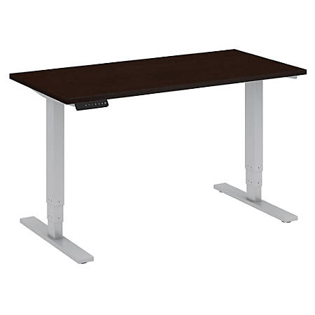 "Bush Business Furniture Move 80 Series 48""W x 24""D Height Adjustable Standing Desk, Mocha Cherry/Cool Gray Metallic, Standard Delivery"
