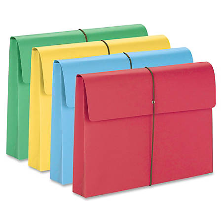 """Smead® Elastic Closure Expanding School Wallets, Legal Size, 2"""" Expansion, Assorted Colors, Pack Of 50"""