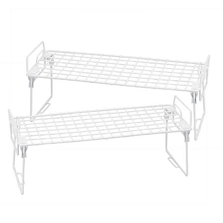 """Honey-Can-Do Lock And Link Kitchen Organizer Racks, 7 1/4""""H x 18""""W x 7 1/8""""D, White, Set Of 2"""