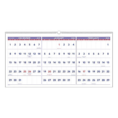 """AT-A-GLANCE® 3-Month Reference 15-Month Wall Calendar, 24"""" x 12"""", December 2019 To February 2021, PM1428"""